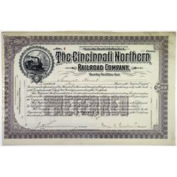 Cincinnati Northern Railroad Co., 1898 I/U Stock Certificate