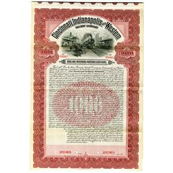 Cincinnati, Indianapolis and Western Railway Co. 1903 Specimen Bond