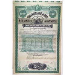 Cleveland, Akron & Columbus Railway Co., 1886 $1000 Specimen Bond