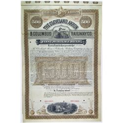Cleveland, Akron & Columbus Railway Co., 1886 $500 Specimen Bond Rarity.