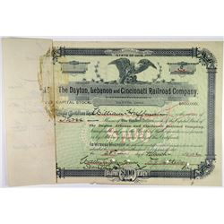 Dayton, Lebanon & Cincinnati Railroad Co., 1892 I/C Stock Certificate