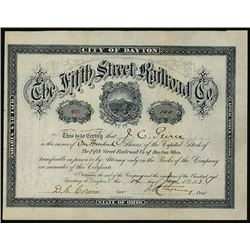 Fifth Street Railroad Co.1884 I/U Share Certificate.