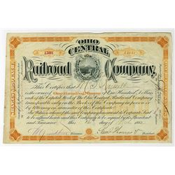 Ohio Central Railroad Co. 1882 I/U Stock Certificate