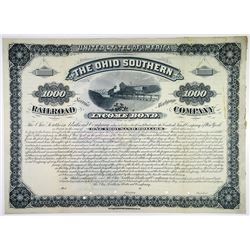 Ohio Southern Railroad Co., 1881 Specimen Bond Rarity
