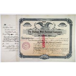 Rolling Mill Railroad Co., 1891 I/C Stock Certificate