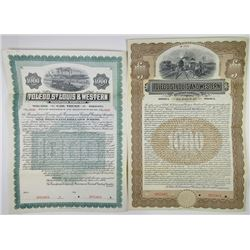 Toledo, St. Louis & Western Railroad Co. 1906 & 1907 Specimen Bond Pair