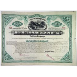 Jersey Shore, Pine Creek and Buffalo Railway Co., 1882 Specimen Bond