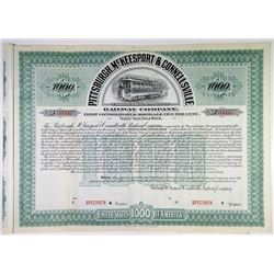Pittsburgh, McKeesport & Connellsville Railway Co., 1901 Specimen Bond Rarity.