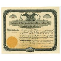 Pottstown & West Chester Electric Street Railway 1903 Issued Stock Certificate