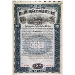 Pittsburgh, Shawmut & Northern Railroad Co., 1899 Specimen Bond Rarity