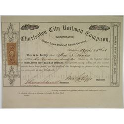 Charleston City Railway Co. 1866  Serial# 1 Stock Certificate
