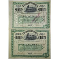 Charleston, Sumter & Northern Railroad Co. 1890 Stock Certificate Pair
