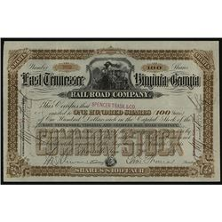 East Tennessee, Virginia and Georgia Railroad Co. 1885 I/U Stock Certificate.