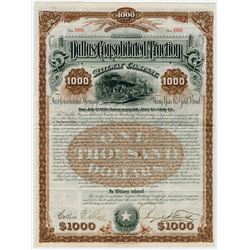Dallas Consolidated Traction Railway Co. 1890 Issued Bond.