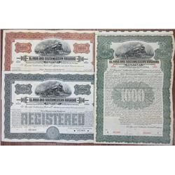 El Paso and Southwestern Railroad Co. 1915 Specimen Bond Trio