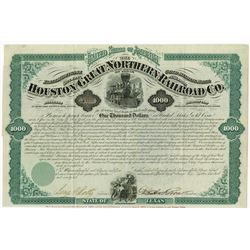 Houston and Great Northern Railroad Co., 1872 Coupon Bond Signed by Galusha A. Grow.