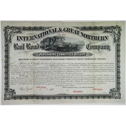 International & Great Northern Rail Road Co. 1879 Specimen Bond Rarity