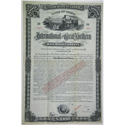 International & Great Northern Railroad Co. 1881 Specimen Bond