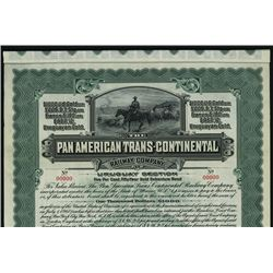 Pan American Trans-Continental Railway Co. 1910 Specimen Bond.