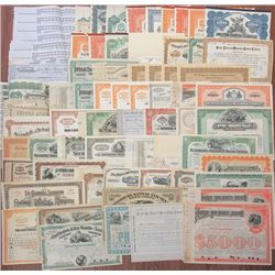 Railroad Stock & Bond Certificate Assortment, ca.1850-1950's.