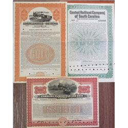 Carolina Railroad 1920s Specimen & Issued Bond Trio