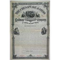 Chesapeake & Ohio Railway Co. 1878 Specimen Bond Rarity.