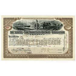 Seattle & San Francisco Railway & Navigation Co. 1902 Stock Certificate.