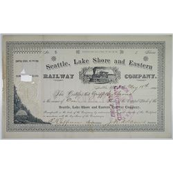 Seattle, Lake Shore and Eastern Railway Co. 1885 I/C Stock Certificate