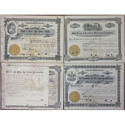 Group of WV, Virginia and Kentucky I/C Railroad Stock Certificates ca.1909-1929