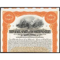 Wisconsin, 1912, Vertical $1000, 4%  1st mortgage gold coupon bond specimen with coupons, orange bor