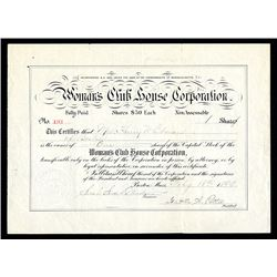 Woman's Club House Corp. 1899 Stock Certificate