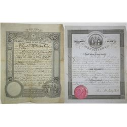 Odd Fellows Issued Membership Certificates, 1853 and 1897.