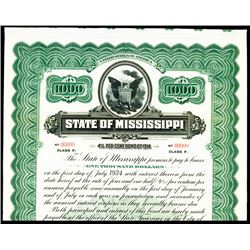 State of Mississippi, 1914 Specimen Bond.