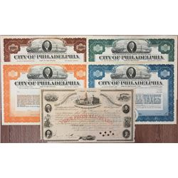 City of Philadelphia, 1868-1924, Specimen and Cancelled Bonds