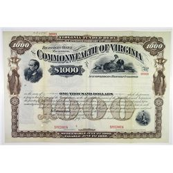 Commonwealth of Virginia 1909 Specimen Bond