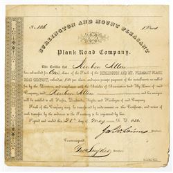 Burlington and Mount Pleasant Plank Road Co., 1850 Issued Stock Certificate