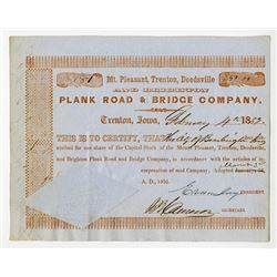 Mt. Pleasant, Trenton, Deedsville and Brighton Plank Road & Bridge Co. 1851 Issued Stock Certificate