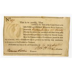 Milford and Owego Turnpike Road Co, 1817 Stock Certificate