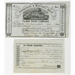 Waterford & Marvin's Mills Plank Road Co. 1852 Issued Stock Certificate
