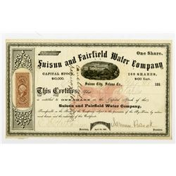 Suisun & Fairfield Water Co. 1868 I/U Stock Certificate