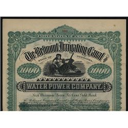 Belmont Irrigating Canal & Water Power Co. 1891 Specimen Bond.