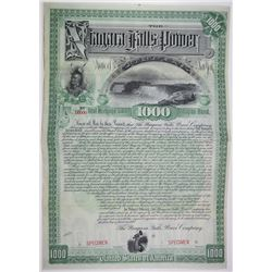 Niagara Falls Power Co. 1892 Specimen Bond