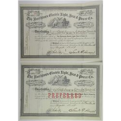 Norristown Electric Light, Heat & Power Co., 1888 Stock Certificate Pair.