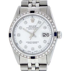 Rolex Mens Stainless Steel White Diamond & Sapphire 36MM Datejust Wristwatch