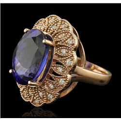 14KT Rose Gold 11.28 ctw Tanzanite and Diamond Ring