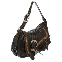Christian Dior Black Leather Gaucho Double Saddle Bag