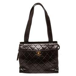Chanel Black Quilted Lambskin Leather Shoulder Tote Bag
