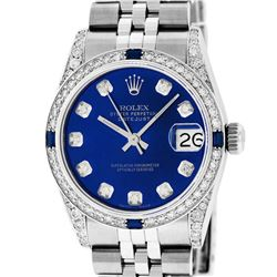 Rolex Womens Midsize 31mm Blue Diamond Lugs & Sapphire Datejust Wristwatch