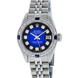 Rolex Ladies Stainless Steel Blue Vignette Diamond & Sapphire Datejust Wriswatch