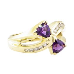 0.75 ctw Amethyst and Diamond Ring - 14KT Yellow Gold